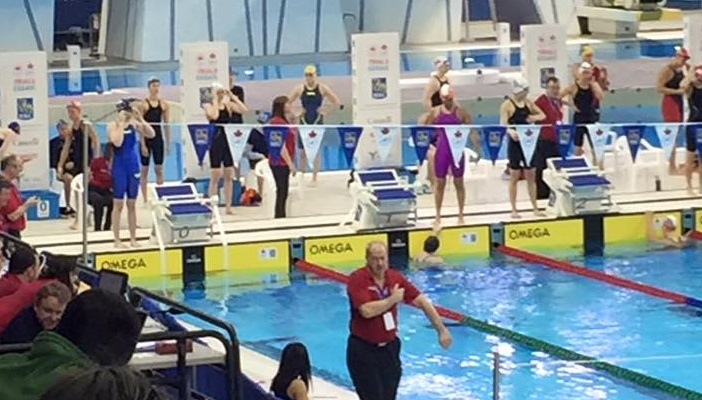 Wallaceburg's Madison Broad prepares for her prelim swim in the women's 100 metre Rio Olympic time trials in Scarborough
