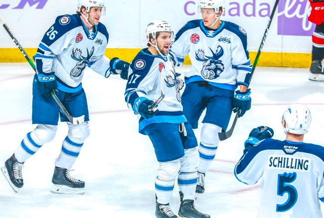 Griffith Heating Up For Manitoba Moose Scores 100th Career Ahl Goal